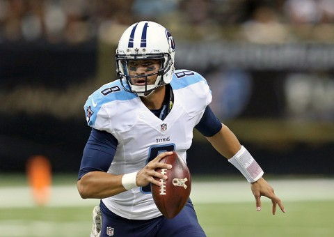 Tennessee Titans quarterback Marcus Mariota (8) looks to make a throw in the second quarter of their game against the New Orleans Saints at the Mercedes-Benz Superdome. (Chuck Cook-USA TODAY Sports)