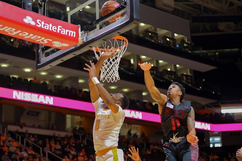 Tennessee Volunteers guard Kevin Punter (0) shoots the ball in front of Gardner Webb Runnin Bulldogs guard David Efianayi (11) during the second half at Thompson-Boling Arena. The Volunteers won 89-64. (Randy Sartin-USA TODAY Sports)