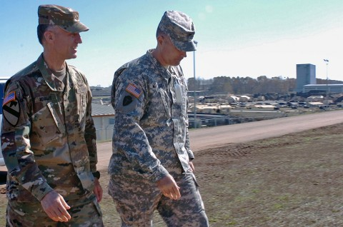 Brigade Gen. John E. Novales II, deputy commanding general of the 101st Airborne (Air Assault) Division, Fort Campbell, Ky., visits Texas Army National Guards' 136th MEB during the Warfighter exercise Nov. 10, 2015. (U.S. Army National Guard Sgt. Elizabeth Pena/Released)