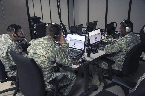 Cavalry scouts with 1st Squadron, 32nd Cavalry Regiment, 1st Brigade Combat Team, 101st Airborne Division (Air Assault) conduct intelligence training on a virtual patrol Feb. 12. The training's intent is to train Soldiers without an intelligence background in providing better intelligence at the company level. (Sgt. Samantha Parks, 1st Brigade Combat Team)