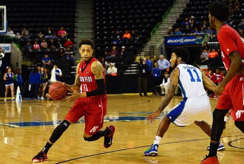 Austin Peay's Khalil Davis drives against Texas A&M Corpus Christi. (Kyle Mazabob)