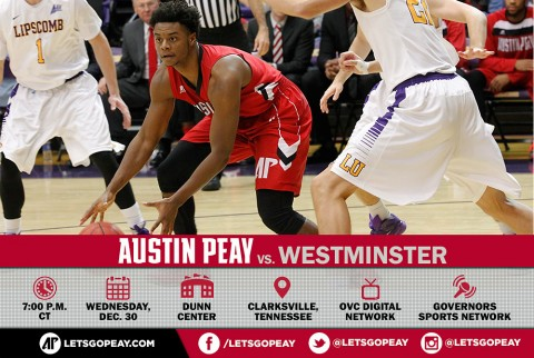 Austin Peay Men's Basketball take on Westminster Wednesday at the Dunn Center. (APSU Sports Information)