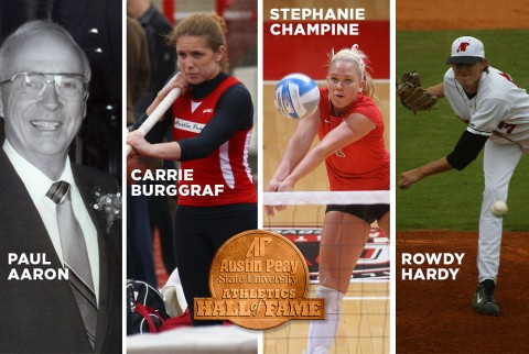 Austin Peay to induct Rowdy Hardy, Stephanie Champine, Carrie Burggraf, and Paul Aaron into the APSU Athletics Hall of Fame. (APSU Sports Information)