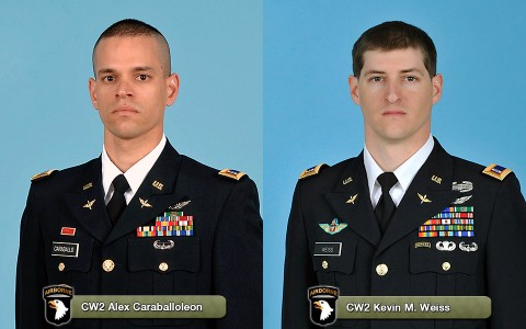 CW2 Alex Caraballoleon and CW2 Kevin M. Weiss