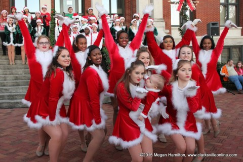 "Northeast Exit One Show Choir performing ""Santa Baby"" on the Montgomery County Court House Steps."
