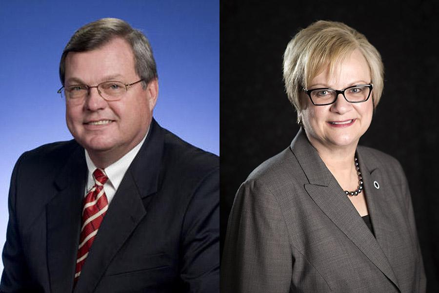 House Speaker Pro Tempore Curtis Johnson (left) and Austin Peay State University President Dr. Alisa White (right).
