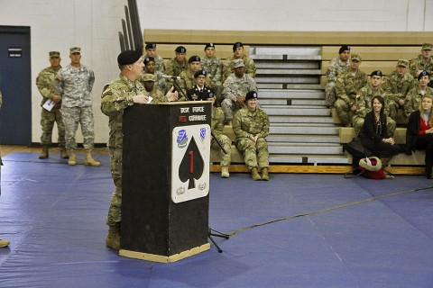 "Command Sgt. Maj. Alan Michaud, the outgoing command sergeant major of 1st Battalion, 506th Infantry Regiment, 1st Brigade Combat Team, 101st Airborne Division (Air Assault), thanks the ""Red Currahee"" Soldiers for continuing to surpass their potential during his 18 months as command sergeant major during his farewell speech at the change of responsibility ceremony Dec. 1, 2015 at Sabo Gym. Michaud transferred responsibility to Command Sgt. Maj. James Brasher. (Sgt. Samantha Stoffregen, 1st Brigade Combat Team, 101st Airborne Division (Air Assault) Public Affairs)"