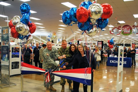 From left: U.S. Army Command Sgt. Maj. Clinton Reiss, Fort Carson garrison command sergeant major; U.S. Army Col. Joel Hamilton, Fort Carson garrison commander; Stephanie Bernstein, Fort Carson Exchange main store manager; and Patricia Austin, Fort Carson Exchange general manager, take part in a ribbon-cutting ceremony at the updated Exchange, Nov. 13, 2015, at Fort Carson, Colo. (Caitlin Burtis, Army & Air Force Exchange Service)