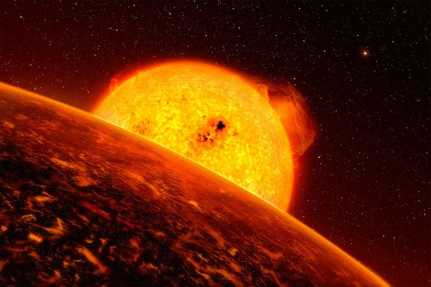 Molten exoplanet CoRoT-7b is a good analog for the Star Wars sizzling lava planet Mustafar. While you won't see any lightsaber duels on CoRoT-7b, the planet's temperature of 3,600 degrees Fahrenheit (1,982 Celsius) isn't far off from the fictional magma mining station. (ESO/L. Calcada)