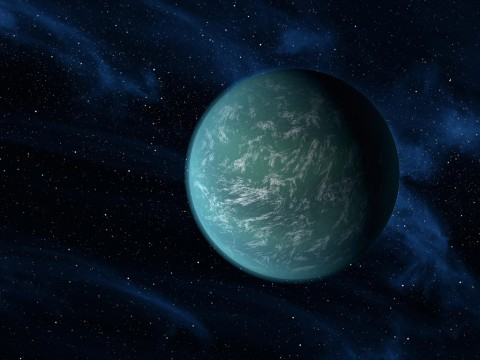 Super-Earth Kepler-22b may not hide an army of clones, but it may resemble the grey water-world of Kamino with its own super ocean. While the true composition of Kepler-22b's surface is unknown, an ocean world about the size of Earth could be comfortably habitable. (NASA/Ames/JPL-Caltech)