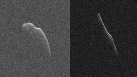 These images of an asteroid 3,600 feet (1,100 meters) long were taken on Dec. 17 (left) and Dec. 22 by scientists using NASA's giant Deep Space Network antenna at Goldstone, California. This asteroid will safely fly past Earth on Dec. 24, at a distance of 6.8 million miles (11 million kilometers). (NASA/JPL-Caltech/GSSR)