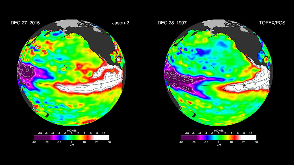 The latest satellite image of Pacific sea surface heights from Jason-2 (left) differs slightly from one 18 years ago from Topex/Poseidon (right). In Dec. 1997, sea surface height was more intense and peaked in November. This year the area of high sea levels is less intense but considerably broader. (NASA/JPL-Caltech)