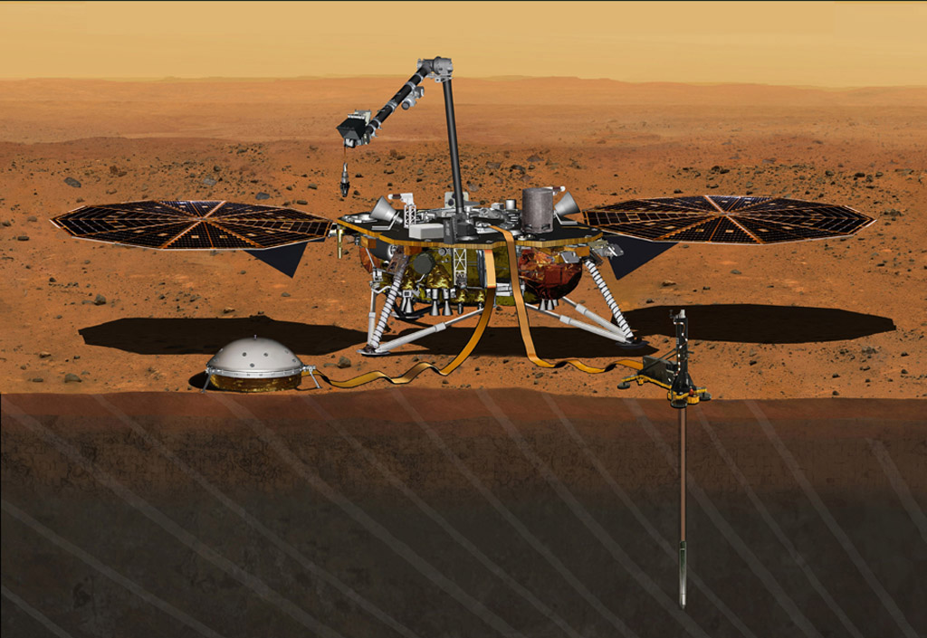 this concept from august depicts nasau0027s insight mars lander fully deployed for studying the