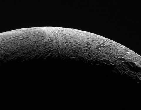 NASA's Cassini spacecraft peered out over the northern territory on Saturn's moon Enceladus, during its final close flyby of Enceladus, on Dec. 19, 2015. (NASA)