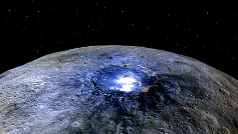 This representation of Ceres' Occator Crater in false colors shows differences in the surface composition. (NASA/JPL-Caltech/UCLA/MPS/DLR/IDA)
