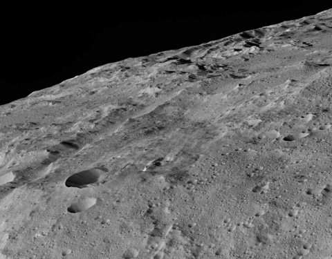 This image of Ceres was taken in Dawn's low-altitude mapping orbit around a crater chain called Gerber Catena. A 3-D view is also available. (NASA/JPL-Caltech/UCLA/MPS/DLR/IDA)