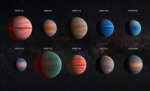 This image shows an artist's impression of the 10 hot Jupiter exoplanets studied using the Hubble and Spitzer space telescopes. (NASA/ESA)