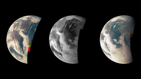 This trio of Junocam views of Earth was taken during Juno's close flyby on October 9th, 2013. (NASA/JPL-Caltech/MSSS)
