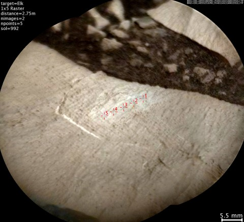 "This image from the Chemistry and Camera (ChemCam) instrument on NASA's Curiosity Mars rover shows detailed texture of a rock target called ""Elk"" on Mars' Mount Sharp, revealing laminations that are present in much of the Murray Formation geological unit of lower Mount Sharp. (NASA/JPL-Caltech/LANL/CNES/IRAP/LPGNantes/CNRS/IAS)"