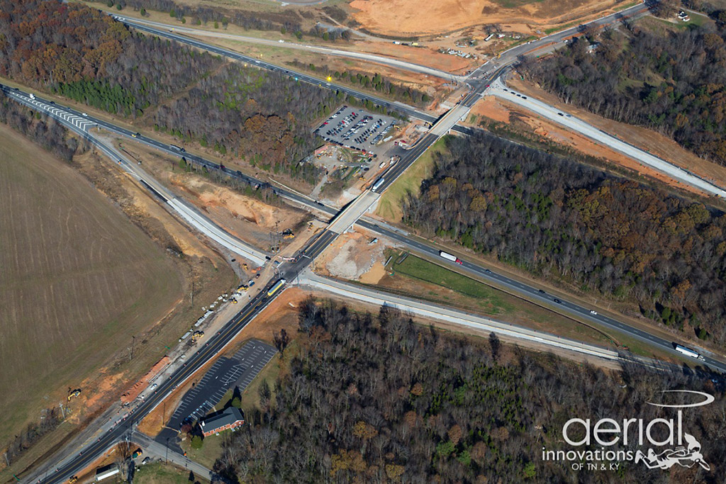 Aerial view of TDOT bridge construction project at I-24 and