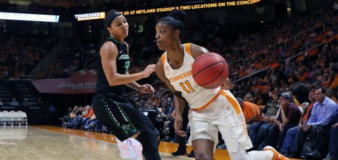 Lady Vols' #11 Diamond DeShields scores 30 to lead Tennessee to victory over Stetson Hatters Wednesday night. (Alison McNabb/Tennessee Athletics)
