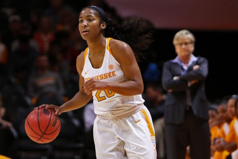 Tennessee Lady Volunteers guard Te'a Cooper (20) scores 13 points in win over Vanderbilt Thursday night. (Randy Sartin-USA TODAY Sports)