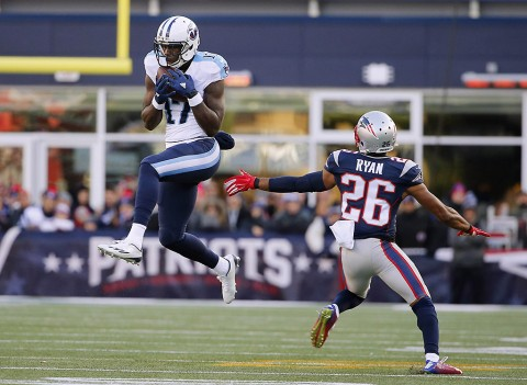 Tennessee Titans wide receiver Dorial Green-Beckham (17) catches a pass over New England Patriots cornerback Logan Ryan (26) during the first half at Gillette Stadium on December. 20th, 2015. (Winslow Townson-USA TODAY Sports)