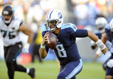 Tennessee Titans quarterback Marcus Mariota (8) carries the ball to score a 87-yard touchdown during the second half against the Jacksonville Jaguars at Nissan Stadium. The Titans won 42-39. (Christopher Hanewinckel-USA TODAY Sports)