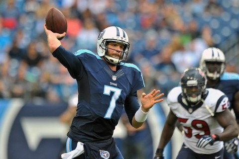 Tennessee Titans quarterback Zach Mettenberger (7) passes against the Houston Texans during the second half at Nissan Stadium. Houston won 34-6 December 27th, 2015. (Jim Brown-USA TODAY Sports)