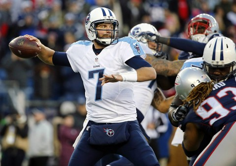 Tennessee Titans quarterback Zach Mettenberger (7) throws under pressure during the second half of the New England Patriots 33-16 win over the Tennessee Titans at Gillette Stadium. (Winslow Townson-USA TODAY Sports)