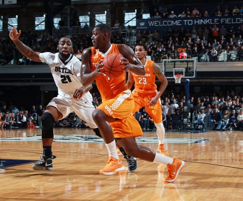 Tennessee Volunteers forward Armani Moore (4) drives to the basket against Butler Bulldogs forward Roosevelt Jones (21) at Hinkle Fieldhouse. (Brian Spurlock-USA TODAY Sports)