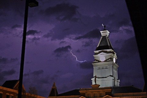 A thunderstorm rages about the Montgomery County Court House.