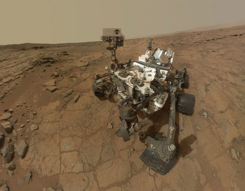 This self-portrait of NASA's Mars rover Curiosity combines dozens of exposures taken by the rover's Mars Hand Lens Imager (MAHLI) during the 177th Martian day, or sol, of Curiosity's work on Mars (Feb. 3, 2013), plus three exposures taken during Sol 270 (May 10, 2013) to update the appearance of part of the ground beside the rover. (NASA)