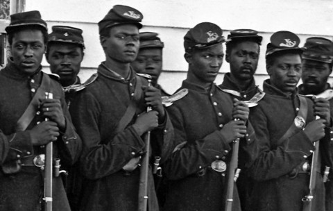 Black men in the Union Army.