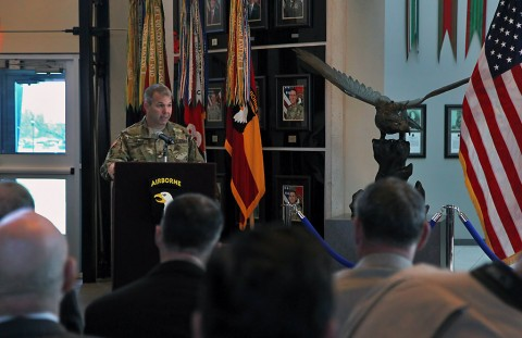 Brig. Gen. Scott E. Brower, incoming acting senior commander for 101st Airborne Division (Air Assault), speaks to Fort Campbell Soldiers, families and community leaders during an Honor Eagle ceremony at Fort Campbell, Ky., Jan. 5, 2016. Brower will step in for Maj. Gen. Gary J. Volesky during the division's deployment to Iraq in support of Operation Inherent Resolve. (Sgt. William White, 101st Airborne Division Public Affairs)