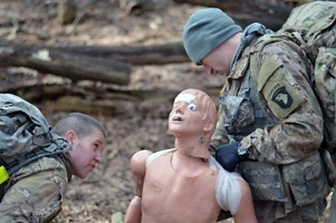 "Sgt. Ethan Lambert and Spc. David Hull, combat medics, 1st Battalion, 502nd Infantry Regiment, Strike, evaluate a casualty during the battalion's best medic competition at Fort Campbell, Ky., Jan. 14, 2016. The two ""First Strike"" Soldiers were the winners of the competition. (Staff Sgt. Sierra A. Fown, 2nd Brigade Combat Team, 101st Airborne Division (Air Assault) Public Affairs)"