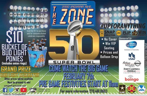 Watch the Super Bowl at Fort Campbell's The Zone – No Cover