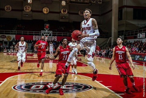 Austin Peay senior guard Khalil Davis limits Jacksonville State's top gun Erci Durham to seven points in win. (APSU Sports Information)