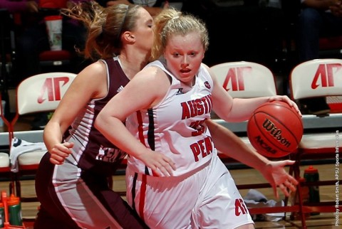 Austin Peay sophomore guard Falon Baker scores 15 points in win over Eastern Illinois Saturday. (APSU Sports Information)