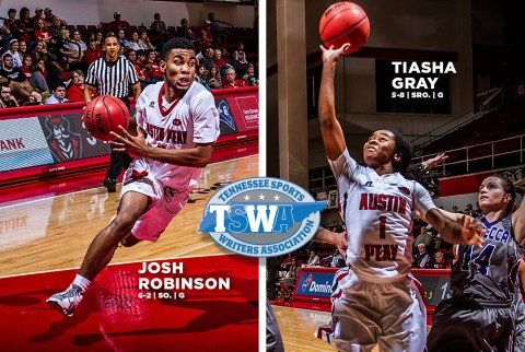 Austin Peay's Tiasha Gray and Josh Robinson get TSWA Player of the Week honors. (APSU Sports Information)