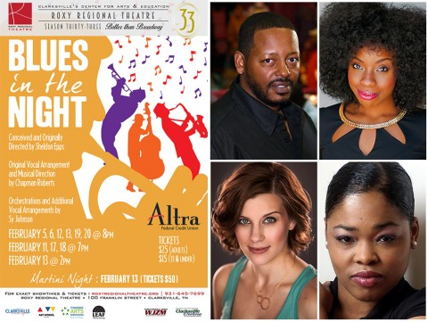 """""""Blues in the Night"""" stars (Top L to R) Phillip Bernard Smith, Mariah Sade Ralph, Lacey Connell and Dwan Hayes."""