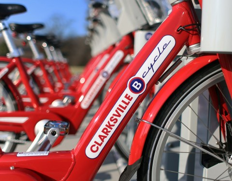 "Bicycle Share Program ""B-Cycle"" will be available soon at Clarksville's Liberty park and McGregor Park."