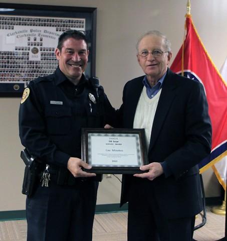 Clarksville Police Officer Coz Minetos and Walt Blackburn. (CPD)