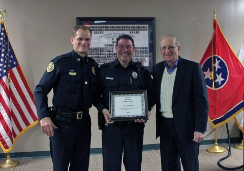 Clarksville Police Chief Al Ansley, Officer Minetos, and Walt Blackburn. (CPD)