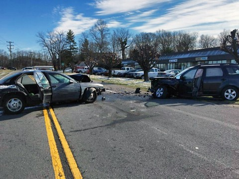 Clarksville Police Officers respond to traffic accident on Kraft street Monday morning.