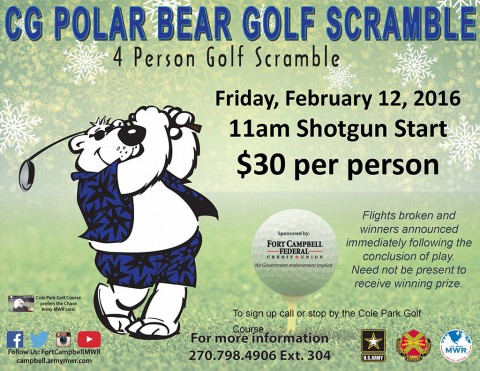 "Commanding General ""Polar Bear"" Golf Scramble set for February 12th"