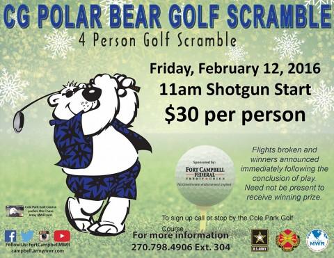 "Commanding General ""Polar Bear"" Golf Scramble set for February 12th"