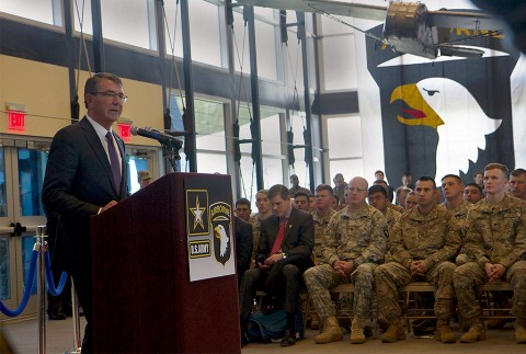 U.S. Secretary of Defense Ashton B. Carter speaks to 101st Airborne Division (Air Assault) Soldiers during a visit to Fort Campbell, Ky., Jan. 13, 2016. Carter visited Fort Campbell Soldiers to talk about the division's upcoming mission and to thank deploying Soldiers for their sacrifices. (Sgt. William White)