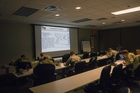 Soldiers from the 39th Brigade Engineer Battalion, 2nd Brigade Combat Team, 101st Airborne Division (Air Assault), conduct a practical exercise at the 39th BEB Engineer Academy, at Fort Campbell, KY, Jan. 13, 2016. The academy was designed to take engineer lieutenants and give them the knowledge base on how to work with light Air Assault battalions. (Staff Sgt. Terrance D. Rhodes, 2nd Brigade Combat Team, 101st Airborne Division (Air Assault) Public Affairs)