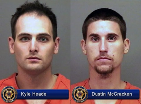 Kyle Heade, Dustin McCracken and Theresa Cobb (not pictured) are wanted in connection to the shooting at Bojangles' Restaurant on Tiny Town Road.